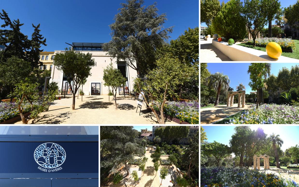 montage du batiment de l'ancienne banque de france à hyères vu de l'extérieur avec jardins et sculptures artistiques