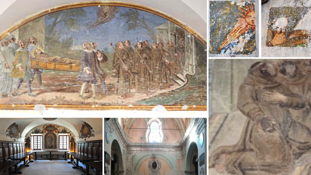 montage photo des lunettes décorées de fresques du monastère de saorge dans les alpes maritimes