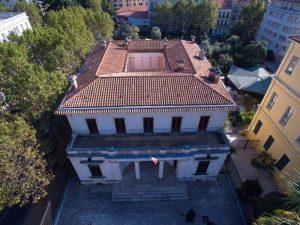 Bâtiment du musée des cultures et du paysage en vue aérienne