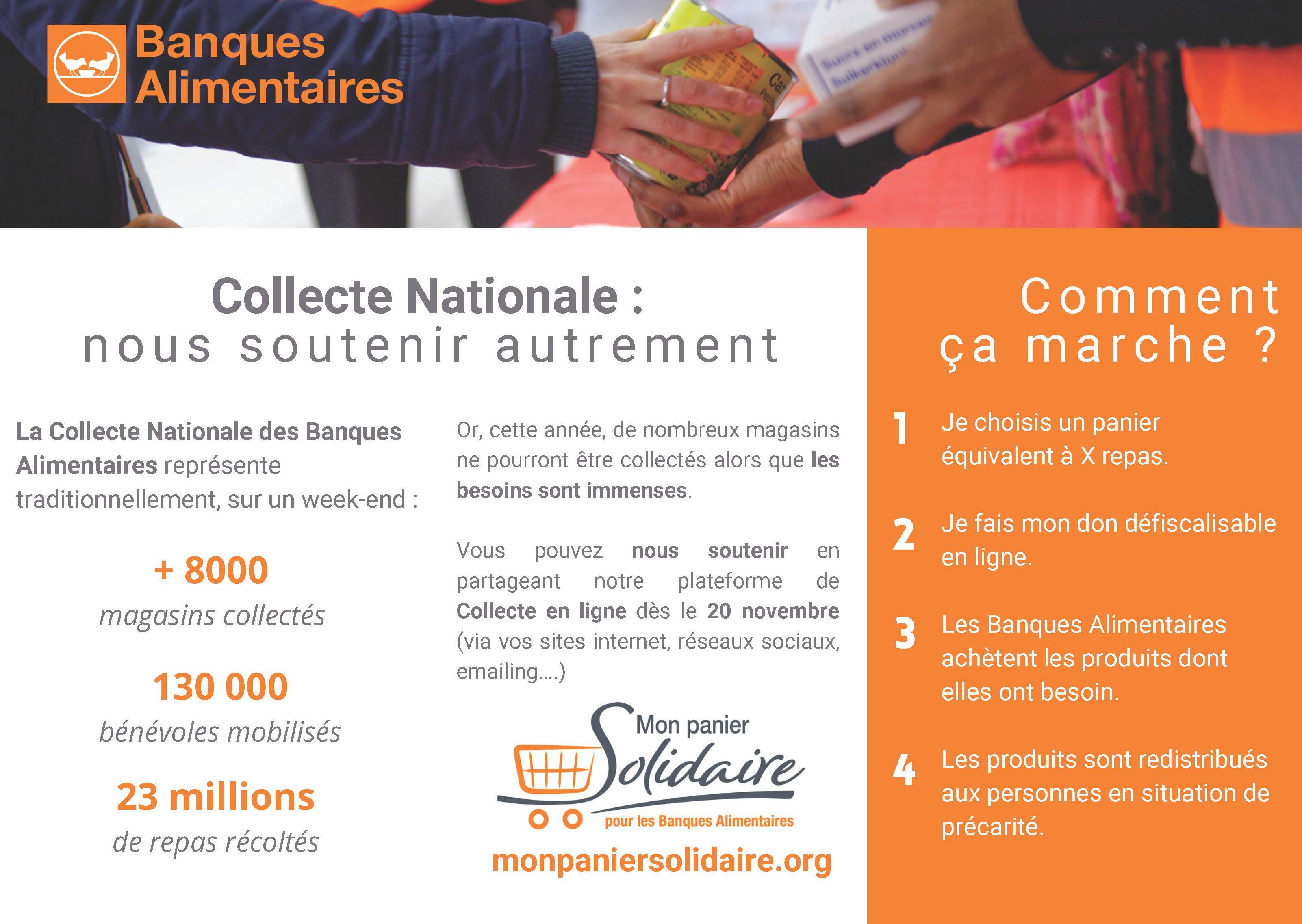 protocole pour soutenir la collecte nationale panier solidaire banques alimentaires